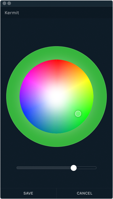 Create custom colors easily with a RGB and brightness control